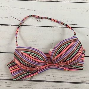 Victoria's Secret swim top 34B rainbow stripe